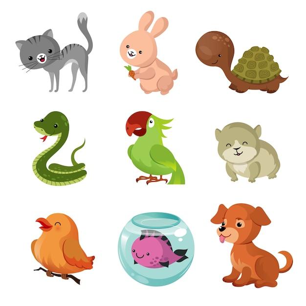 Huisdieren huisdieren vector platte pictogrammen Premium Vector