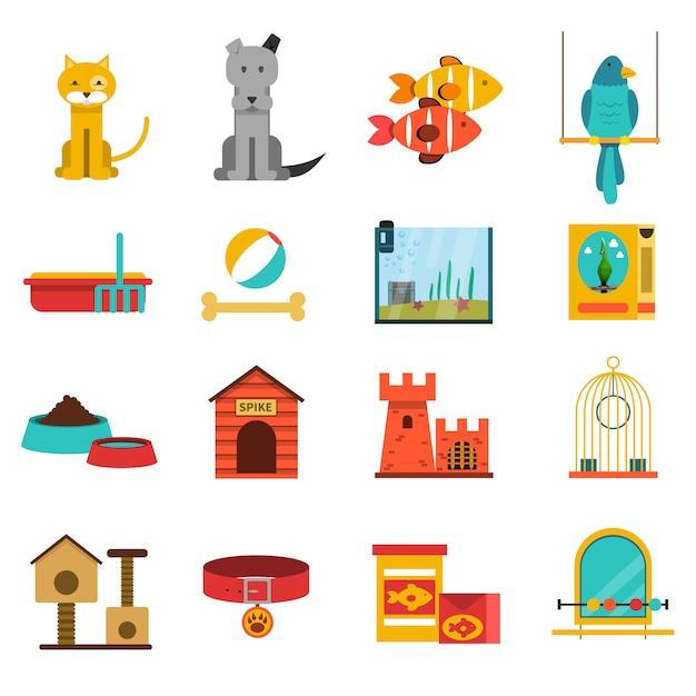 Huisdieren icons set Gratis Vector