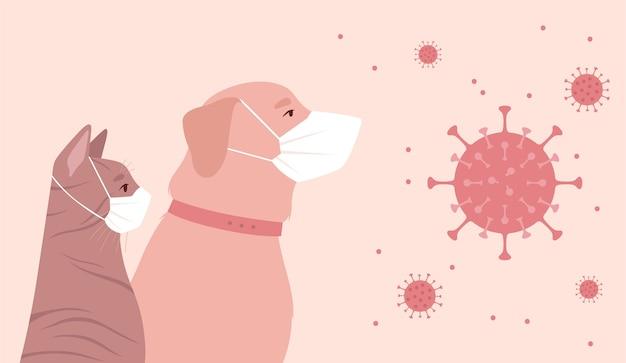 Huisdieren in quarantaine geplaatst vanwege coronavirus. Premium Vector
