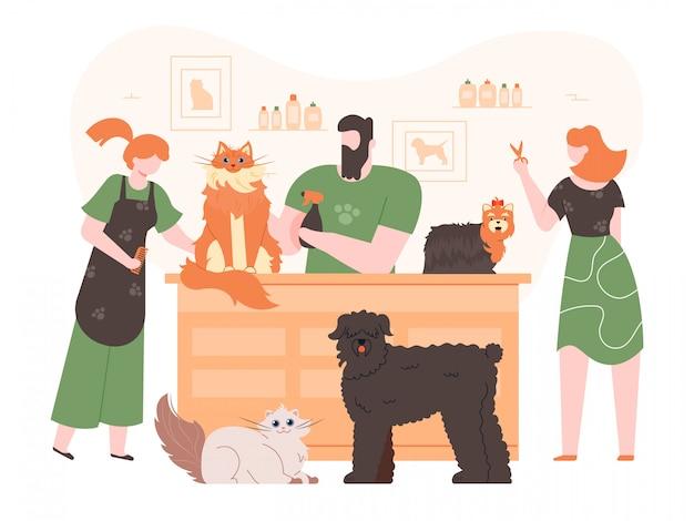Huisdieren in trimsalon. binnenlandse honden en katten in de vachtverzorging salon, mensen verzorgen, wassen en snijden huisdieren bont kleurrijke illustratie. honden trimmers karakters. kapsalon voor dieren Premium Vector