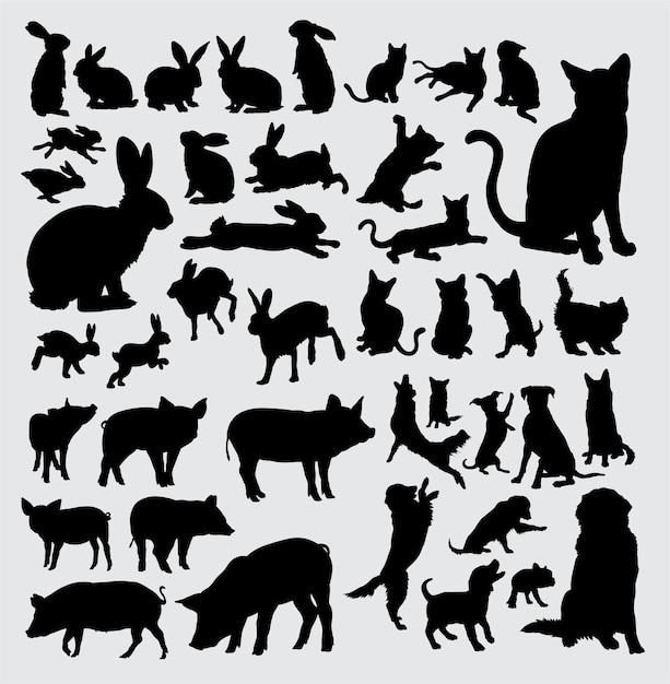 Huisdierensilhouet, konijn, kat, varken en hond Premium Vector