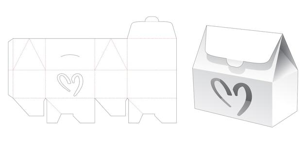Huisdoos met hartvormig raam gestanst sjabloon Premium Vector