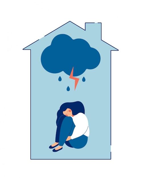 Huiselijk geweld tegen vrouwen concept. de misbruikte vrouw omhelst haar lichaam in pijn. Premium Vector
