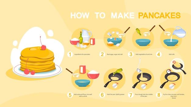 Huisgemaakte lekkere pannenkoek voor een ontbijtrecept. Premium Vector