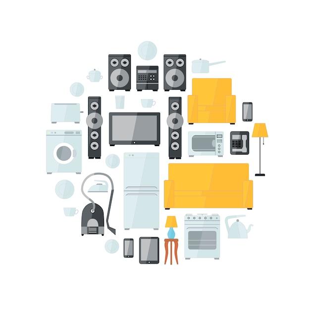 Huishoudapparaten plat kleurrijke pictogrammen Premium Vector