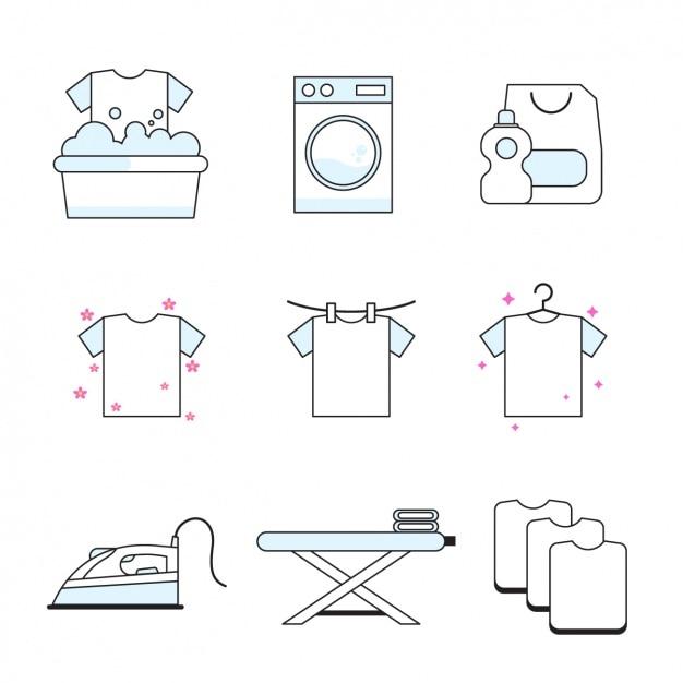 Huishoudelijk werk pictogrammen collectie Gratis Vector