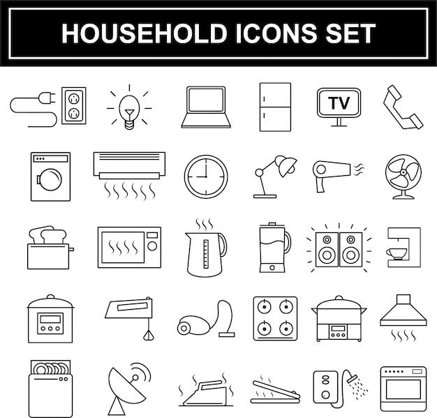 Huishoudelijke apparaten pictogrammen instellen Premium Vector