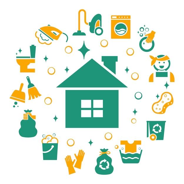 Huishoudelijke schoonmaakelementen ingesteld. Gratis Vector