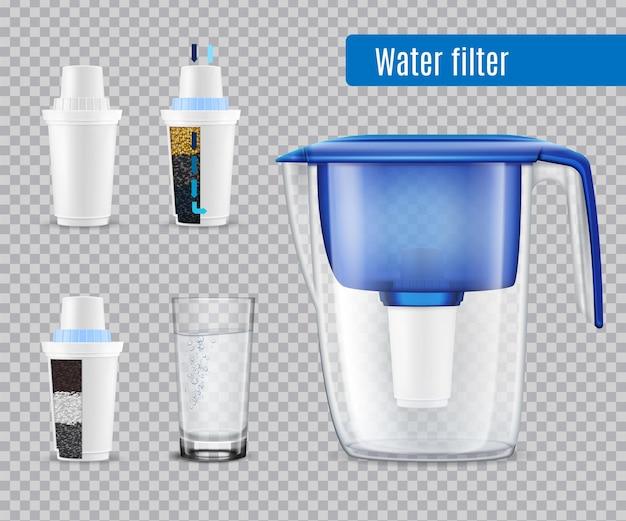 Huishoudelijke waterfilterkan met 3 vervangende koolstofpatronen en volledig glazen realistische set transparant Gratis Vector