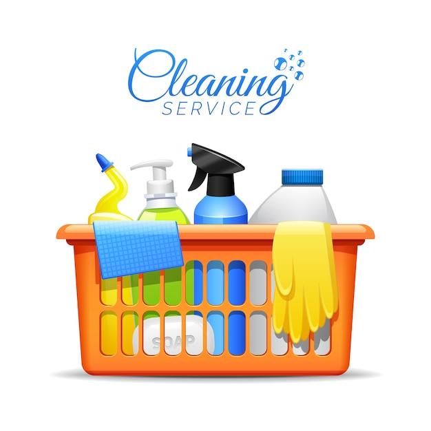 Huishouden schoonmakende producten in mandillustratie Gratis Vector