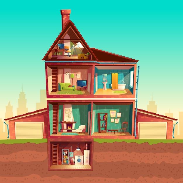 Huisinterieur met drie verdiepingen in doorsnede met kelder en garage. Gratis Vector