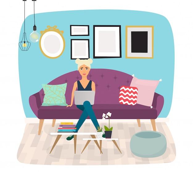 Huiskamer. meubels en woonaccessoires, waaronder banken, love seat, fauteuils, salontafel, bijzettafels en woondecoratie. Premium Vector