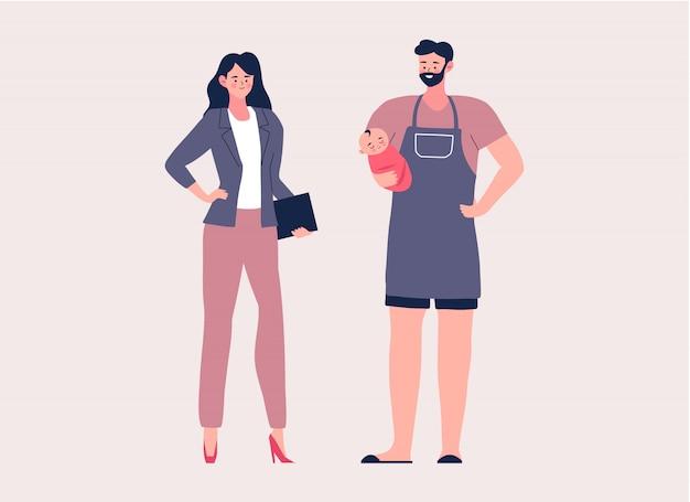 Huisman en zakenvrouw cartoon karakter illustratie Premium Vector