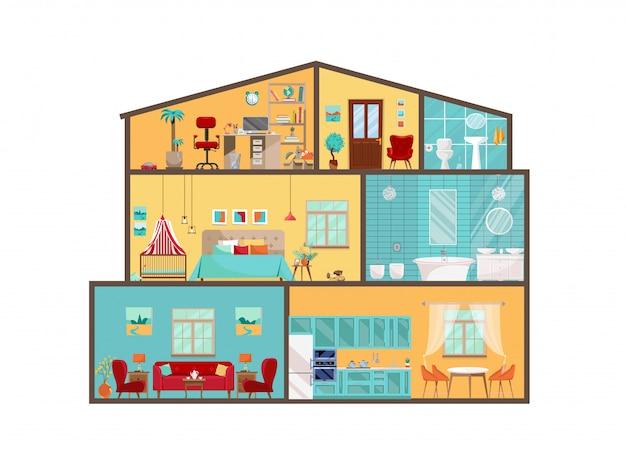 Huismodel van binnenuit. gedetailleerde interieurs met meubels en decor in platte vectorstijl. groot huis op maat. cottage cutaway met interieur van slaapkamer, woonkamer, keuken, eetkamer, badkamer, kinderkamer Premium Vector
