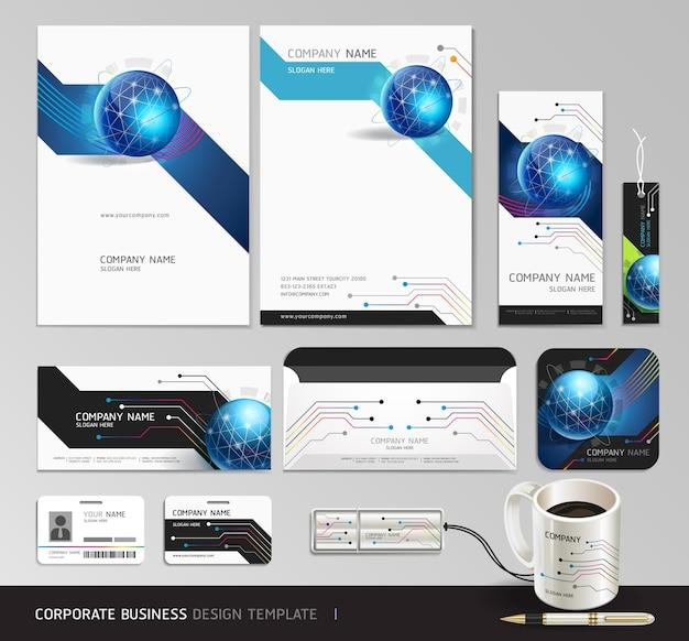 Huisstijl bedrijf decorontwerp. abstracte achtergrond Premium Vector
