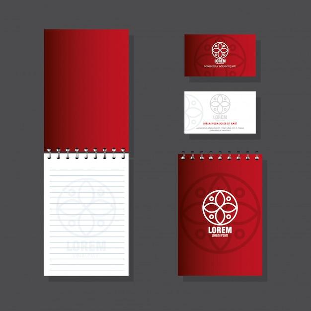 Huisstijl merk, zakelijk briefpapier instellen op een grijze achtergrond, rood met wit bord Premium Vector