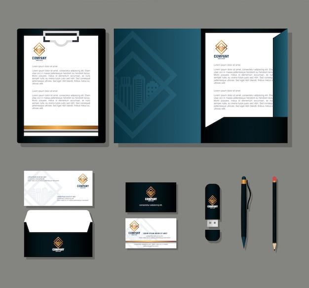 Huisstijl merk, zakelijk briefpapier instellen op een grijze achtergrond, zwart met gouden bord Premium Vector