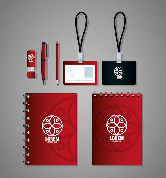 Huisstijl merk, zakelijk briefpapier instellen, rood en zwart met wit bord Premium Vector