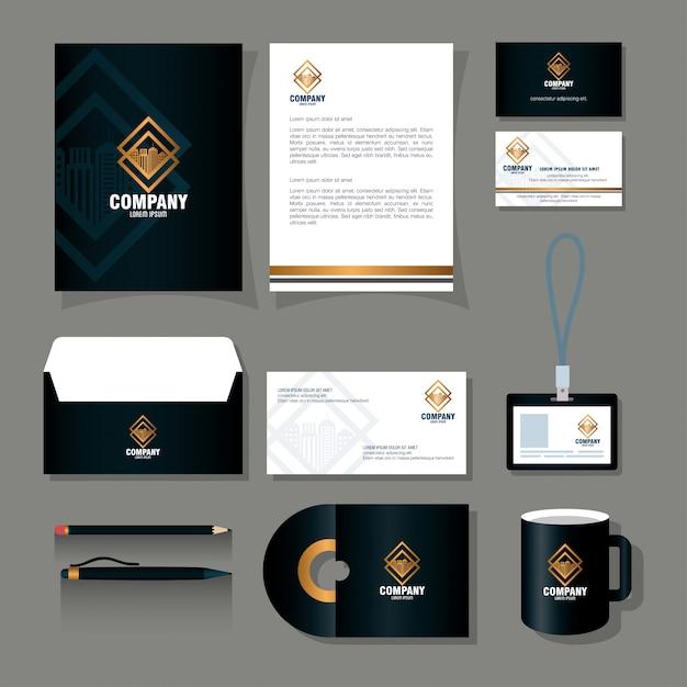 Huisstijl merkmodel, kantoorbenodigdheden, zwarte kleur met gouden bord Premium Vector