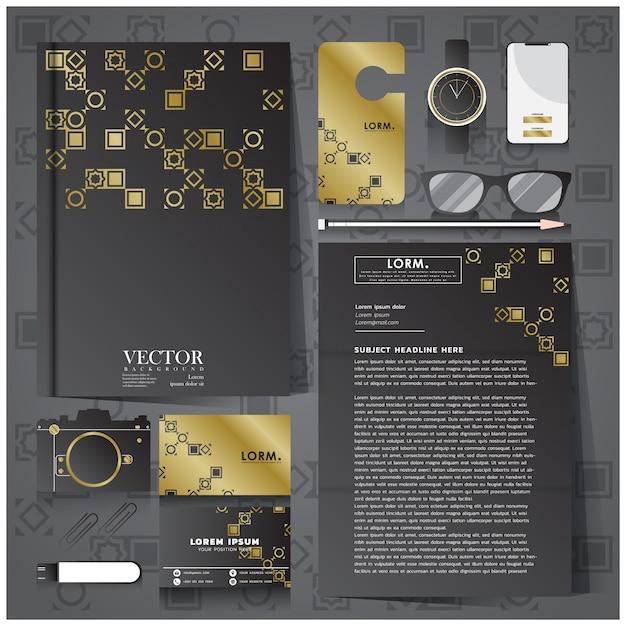 Huisstijl met zwart en goud briefpapier Premium Vector