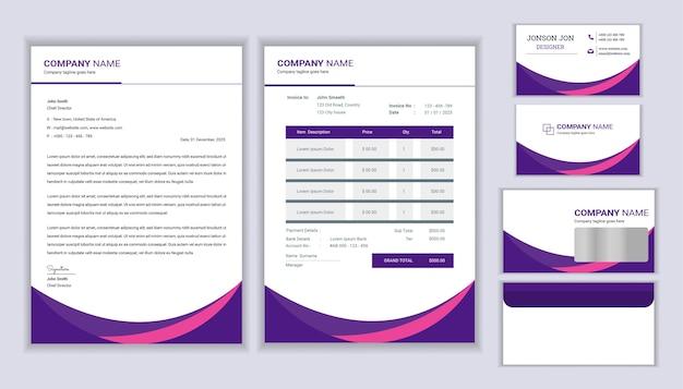 Huisstijl ontwerp met briefhoofdsjabloon, factuur en visitekaartje Premium Vector
