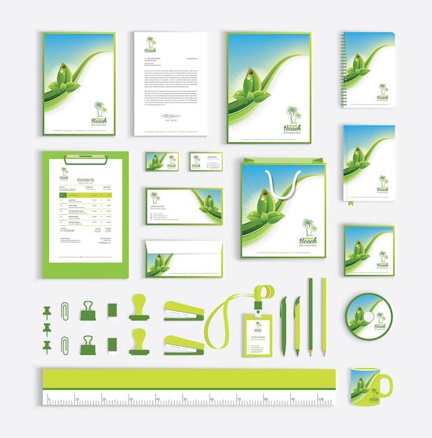 Huisstijl ontwerpsjabloon met groene bladeren Premium Vector