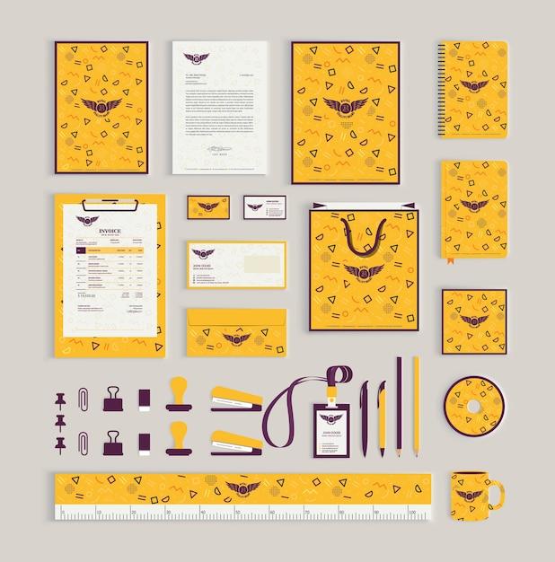 Huisstijl ontwerpsjabloon met memphis patroon Premium Vector