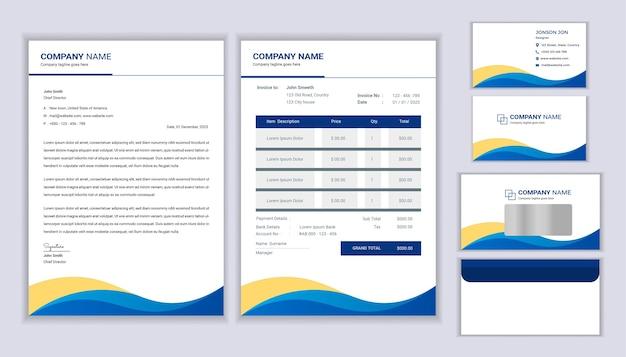 Huisstijl sjabloon. briefpapier sjabloonontwerp met briefhoofdsjabloon, factuur, envelop en visitekaartje. Premium Vector