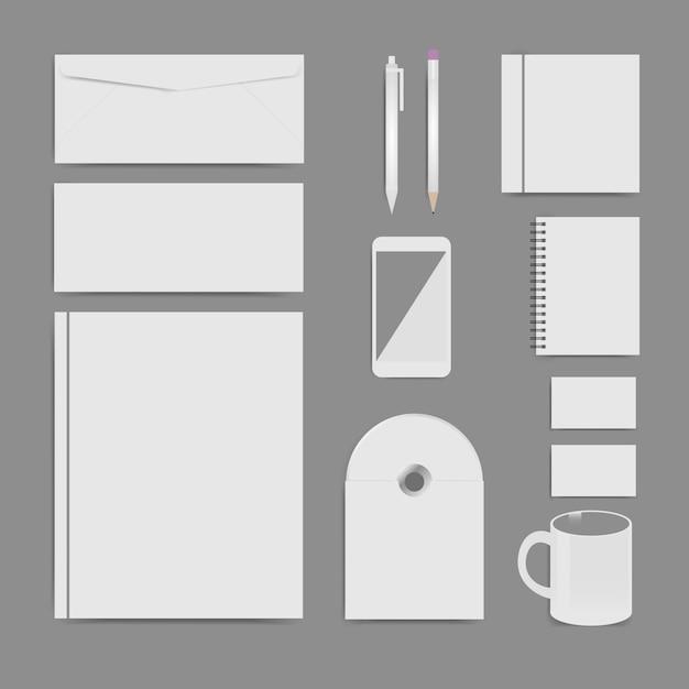 Huisstijl sjabloon set, branding ontwerp, lege sjabloon Premium Vector