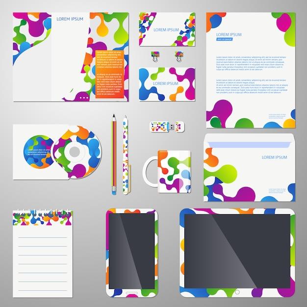 Huisstijl vector sjabloon met gekleurde moleculaire structuur. sjabloon corporate branding, bedrijfsidentiteit merk, business branding ontwerp illustratie Gratis Vector