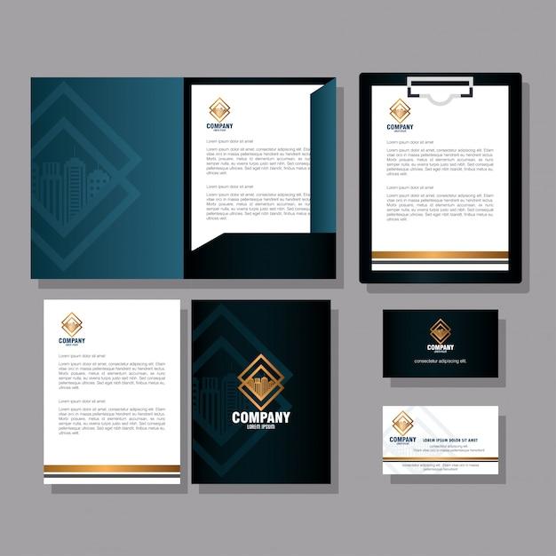 Huisstijl, zakelijk briefpapier, zwart en gouden bord instellen Premium Vector