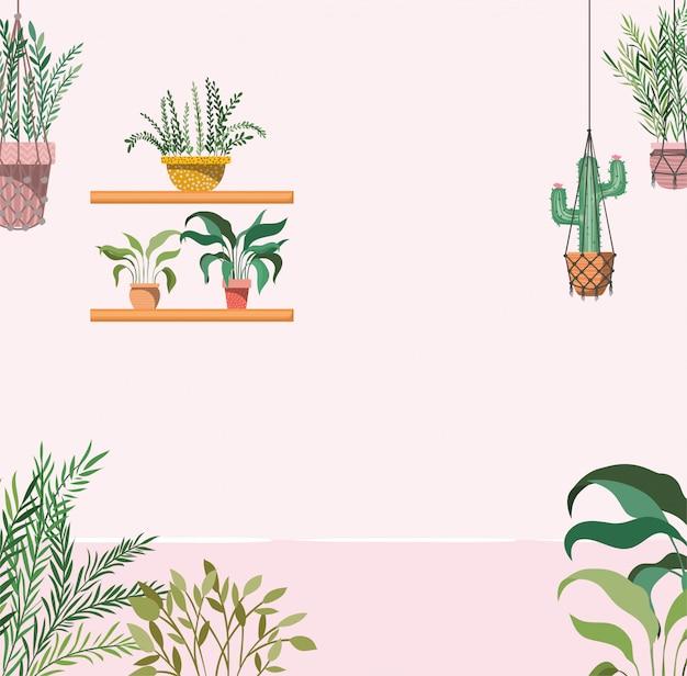 Huistuin met planten die scène hangen Premium Vector