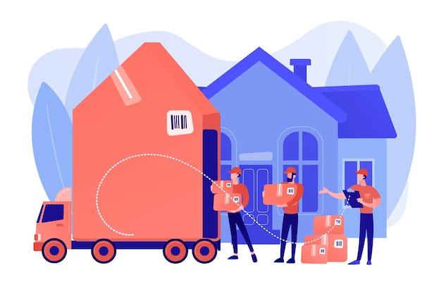Huisverhuizing, klantendozen en kartonnen containers in vrachtwagen. verhuisdiensten, huis-aan-huis verhuizingen, best verhuizers service concept. roze koraal bluevector geïsoleerde illustratie Gratis Vector