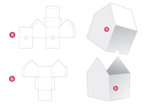 Huisvormige kom met deksel gestanst sjabloon Premium Vector