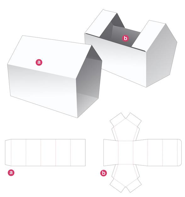Huisvormige verpakking en huisvormige omslag gestanst sjabloon Premium Vector