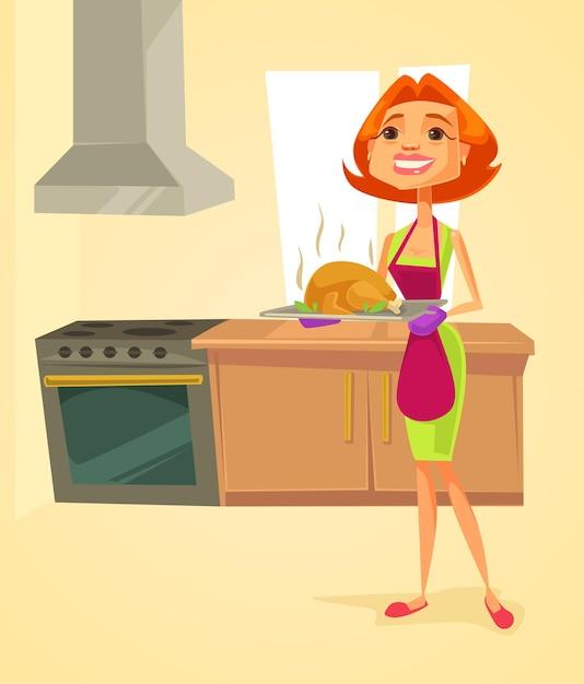Huisvrouw karakter in keuken houden gebakken kip cartoon afbeelding Premium Vector