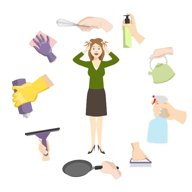 Huisvrouwenvrouwenstress door dagelijkse huislast en problemen. Premium Vector