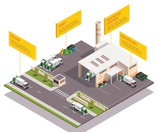 Huisvuilafval die isometrische samenstelling recycleren met infographic teksttitels en mening van de fabrieksbouw en voertuigen vectorillustratie Gratis Vector