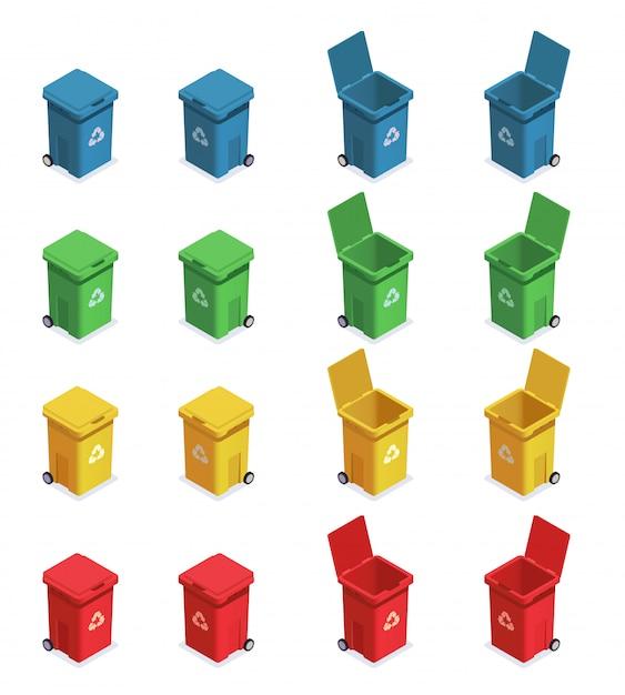 Huisvuilafval recyclerende isometrische reeks met zestien geïsoleerde beelden van vuilnisbakken met verschillende kleurencode vectorillustratie Gratis Vector
