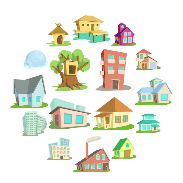 Huizen icon set, cartoon stijl Premium Vector