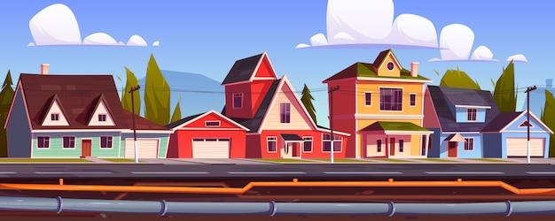 Huizen in de buitenwijken en ondergrondse pijpleiding. riool- en sanitairsysteem onder stadsstraat Gratis Vector