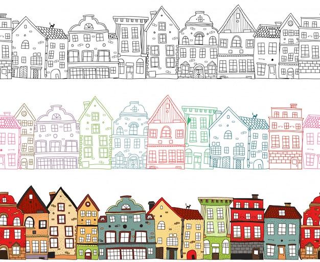 Huizen naadloze composities Gratis Vector