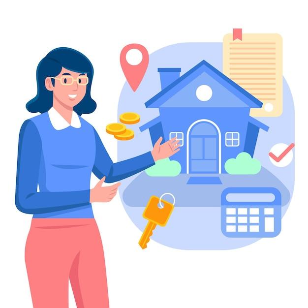 Hulp bij makelaar bij vrouw en huis Gratis Vector