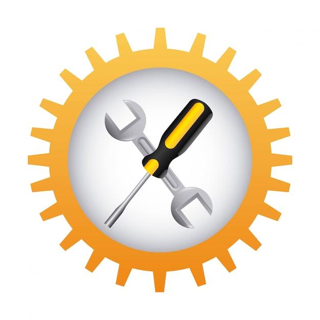 Hulpmiddelen die over witte vectorillustratie als achtergrond ontwerpen Premium Vector
