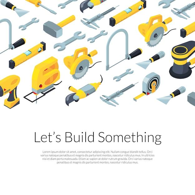 Hulpmiddelen van de bouw isometrische achtergrond met tekstsjabloon Premium Vector