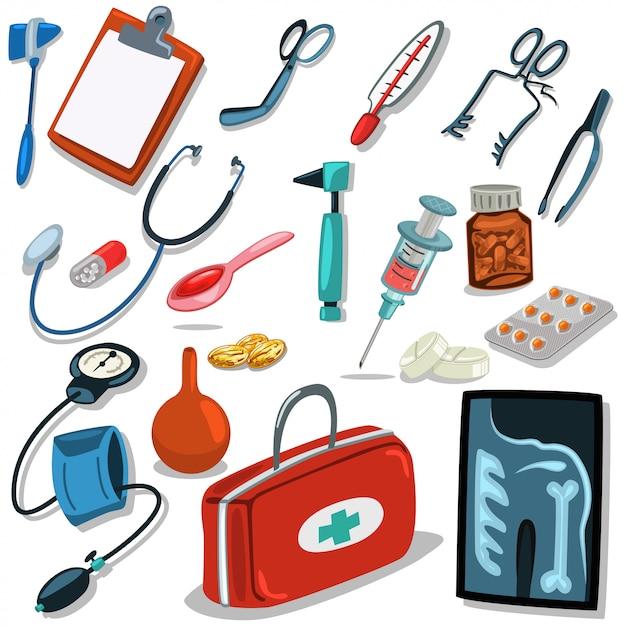 Hulpmiddelen van de dokter. medische chirurgische uitrusting: stethoscoop, spuit, otoscoop, bloeddrukmeter, ehbo-koffer, pillen en tabletten. iconen set geïsoleerd op een witte achtergrond. Premium Vector