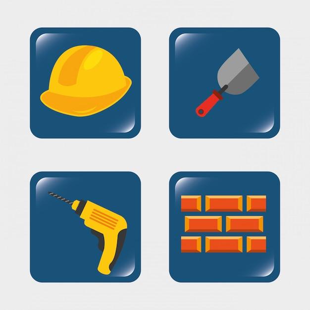 Hulpmiddelen voor bouwers Premium Vector
