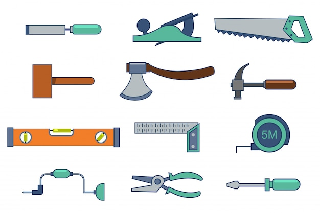 Hulpmiddelen voor het bouwen en repareren van een huis Premium Vector