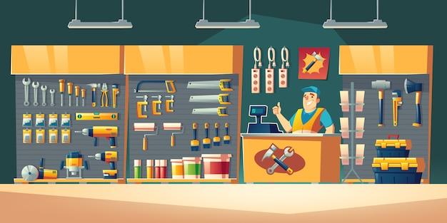 Hulpmiddelen winkel hardware bouw winkel interieur illustratie Gratis Vector