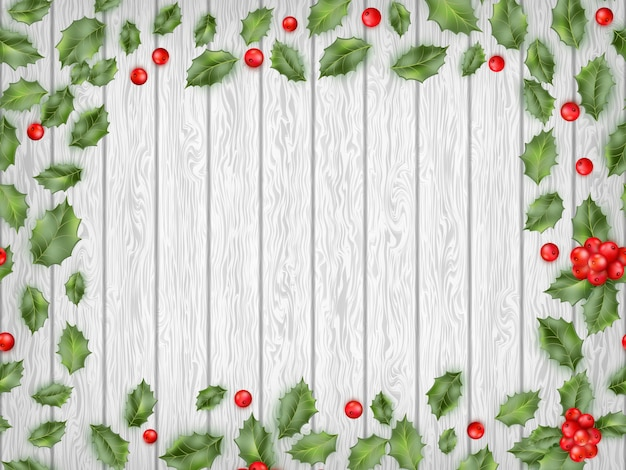 Hulst rode bessen op lichte houten achtergrond. Premium Vector